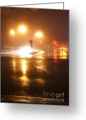 Long Street Greeting Cards - Wet Night Lights Greeting Card by Igor Kislev