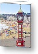 Large Clock Greeting Cards - Weymouth Sea Front Greeting Card by John Snelling
