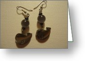 Earrings Jewelry Greeting Cards - Whale Around Earrings Greeting Card by Jenna Green