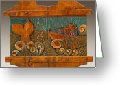 Woodcarving Reliefs Greeting Cards - Whale Hunting Greeting Card by James Neill