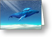 Exploration Digital Art Greeting Cards - Whales Greeting Card by Corey Ford