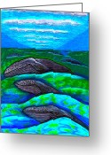 National Drawings Greeting Cards - Whales In Glacier Bay  Alaska Greeting Card by Al Goldfarb
