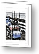Old Man Fishing Greeting Cards - Wharf Fisherman Greeting Card by Frank Garciarubio