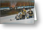 Pond Hockey Painting Greeting Cards - What A Riot Greeting Card by Ron  Genest