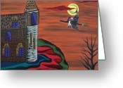 Haunted House Print Greeting Cards - What a wonderful night out Greeting Card by Deidre Firestone