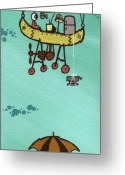 Umbrella Painting Greeting Cards - What Goes Up.... Greeting Card by Dan Keough