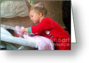 Gentle Touch Photo Greeting Cards - What Santa Brought Greeting Card by RL Rucker