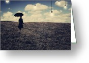 Umbrella Digital Art Greeting Cards - What you dont want to see Greeting Card by Aimelle
