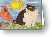 Tuxedo Mixed Media Greeting Cards - What you lookin at Greeting Card by Monica Engeler