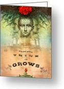 Head Greeting Cards - What You Think on Grows Greeting Card by Silas Toball