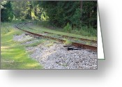 Railroad Tracks Greeting Cards - Whats Around the Bend Greeting Card by Suzanne Gaff