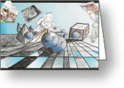 One Point Perspective Greeting Cards - Whats different in this reflection Greeting Card by Joseph Mora