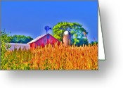Silo Greeting Cards - Wheat Farm Near Gettysburg Greeting Card by Bill Cannon