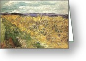 Masterful Greeting Cards - Wheat Field with Cornflowers Greeting Card by Vincent Van Gogh