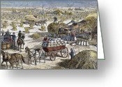 Great Plains Greeting Cards - Wheat Thresher, 1878 Greeting Card by Granger