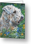 Soft Painting Greeting Cards - Wheaten Terrier Greeting Card by Lee Ann Shepard