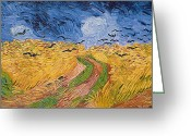 Brushstroke Greeting Cards - Wheatfield with Crows Greeting Card by Vincent van Gogh
