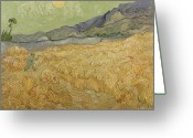 Sickle Greeting Cards - Wheatfield with Reaper Greeting Card by Vincent Van Gogh