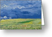 Brushstroke Greeting Cards - Wheatfields under Thunderclouds Greeting Card by Vincent Van Gogh