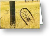 Barbed Wire Fences Photo Greeting Cards - Wheel looking for a Tractor Greeting Card by Rich Franco
