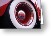 Red Car Greeting Cards - Wheel Reflection Greeting Card by Carol Milisen