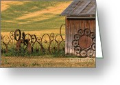 Shed Greeting Cards - Wheels of the Palouse Greeting Card by Sandra Bronstein