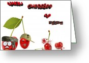Cartoons Greeting Cards - When Cherries Go Bad Greeting Card by Cheryl Young