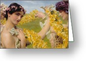 Alma-tadema Greeting Cards - When Flowers Return Greeting Card by Sir Lawrence Alma-Tadema