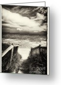 Beach Scenery Greeting Cards - When I was a child - Sepia Greeting Card by Hideaki Sakurai