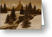 Snow Capped Digital Art Greeting Cards - When it Snowed in the Mountains Greeting Card by Barbara Griffin