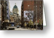 Manhattan Street Scenes Greeting Cards - When Manhattan Feels Like London Greeting Card by Joanna Madloch