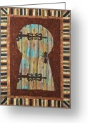 Wall Quilt Tapestries - Textiles Greeting Cards - When One Door Closes Another One Opens Greeting Card by Patty Caldwell