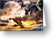 Goose Digital Art Greeting Cards - When Pigs Fly 2 Greeting Card by Wingsdomain Art and Photography