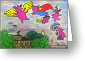 Flying Pigs Greeting Cards - When Pigs Fly Greeting Card by Deborah Willard