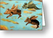Boar Greeting Cards - When Pigs Fly Greeting Card by Leah Saulnier The Painting Maniac