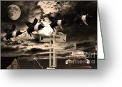 Moons Greeting Cards - When Pigs Fly Greeting Card by Wingsdomain Art and Photography