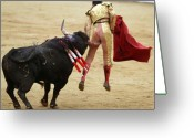 Gore Greeting Cards - When the Bull Gores the Matador I Greeting Card by Rafa Rivas