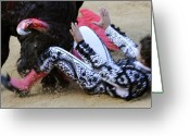 Gore Greeting Cards - When the Bull Gores the Matador III Greeting Card by Rafa Rivas