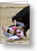 Gore Greeting Cards - When the Bull Gores the Matador IV Greeting Card by Rafa Rivas