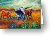 Horns Painting Greeting Cards - When The Cows Come Home Greeting Card by Marion Rose