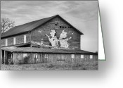 Dances Greeting Cards - When the Farmers Away BW Greeting Card by JC Findley