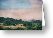 Oak Trees Greeting Cards - When the Fog Lifts Greeting Card by Laurie Search