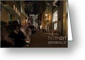 Christmas Trees Greeting Cards - When The Lights Go Down In The City Greeting Card by Wingsdomain Art and Photography