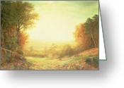 Autumn In The Country Greeting Cards - When the Sun in Splendor Fades Greeting Card by John MacWhirter