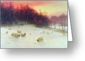 Livestock Painting Greeting Cards - When the West with Evening Glows Greeting Card by Joseph Farquharson
