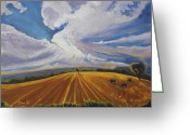 Landscape Painter Greeting Cards - Where Earth Meets Sky Greeting Card by Gina Grundemann