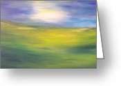 Green Field Painting Greeting Cards - Where land sea and sky meet  sun in my eyes Greeting Card by Conor Murphy
