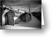 Black And White Photograph Greeting Cards - Where The Mill Once Stood Greeting Card by Bob Orsillo