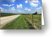 Cornfield Photo Greeting Cards - Where The Road May Take You Greeting Card by Cathy  Beharriell