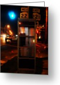 Phone Booth Greeting Cards - Where West Meets East  Greeting Card by Steven  Digman